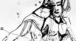 Tusche-Grafik Amy At The Winehouse von Tina Krauß